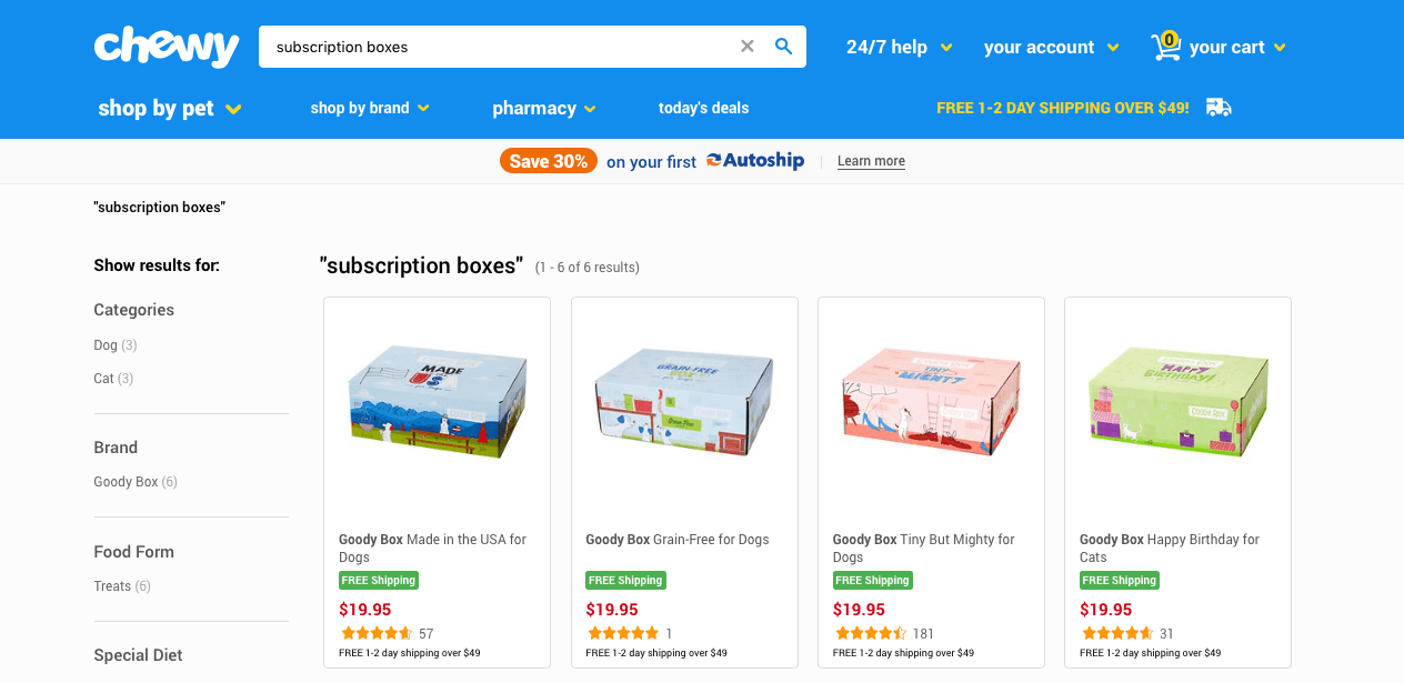 Subscription mailer boxes ecommerce chewy